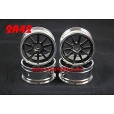 1/10 RC Car 10 Spoke 3mm Offset  Wheel Rim Set 4pcs (2A42)