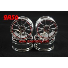 1/10 RC Car 12 Spoke 6mm Offset  Wheel Rim Set 4pcs (2A56)