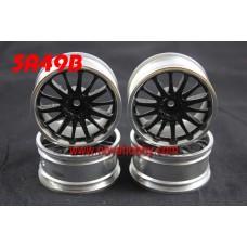 1/10 RC Car 14 Spoke  Wheel Rim Set 4pcs (5A49BK)