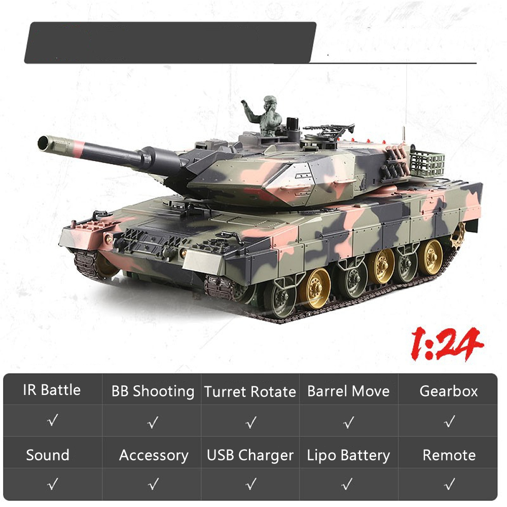 1//24 2.4G RC Henglong German Leopard 2A5 Tank BB shooting and IR battle