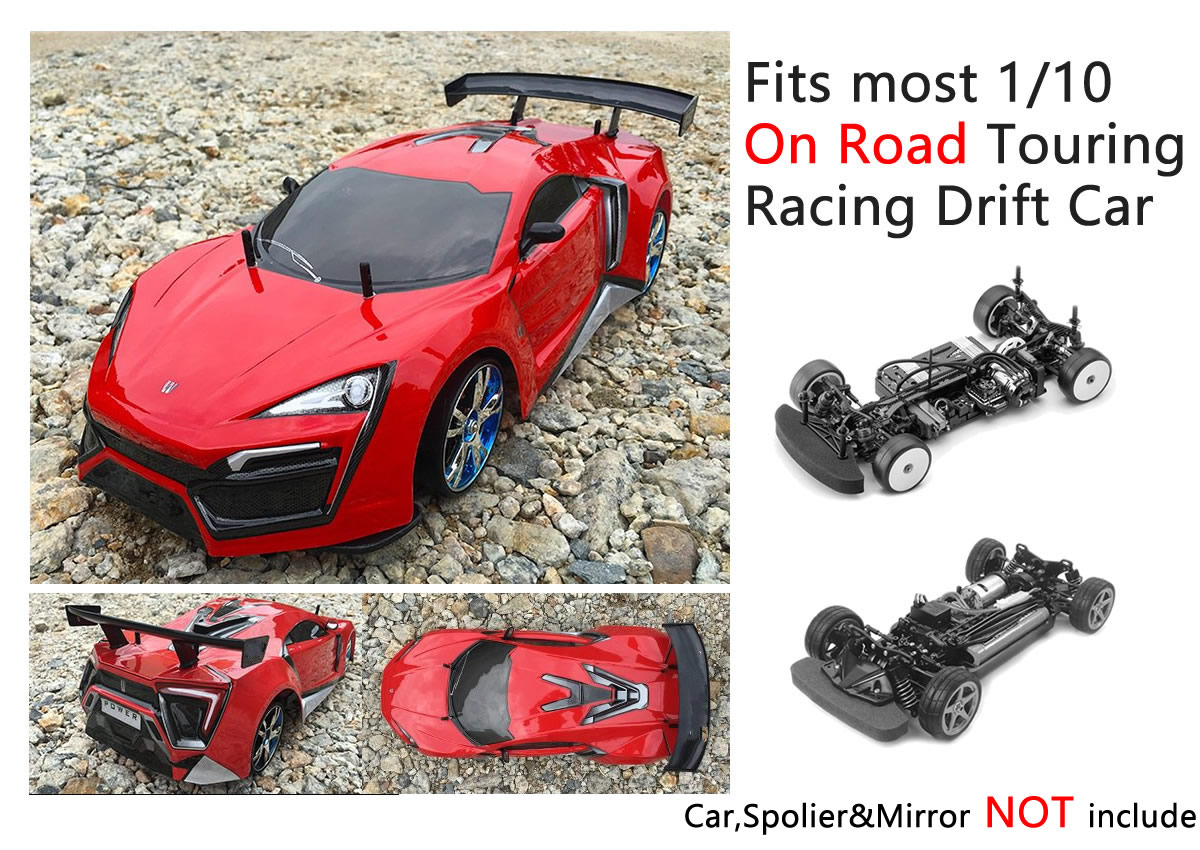 WIPERS WING SPOILER MIRRORS RC 1//10 RC Car Accessories CARBON FIBER Printed